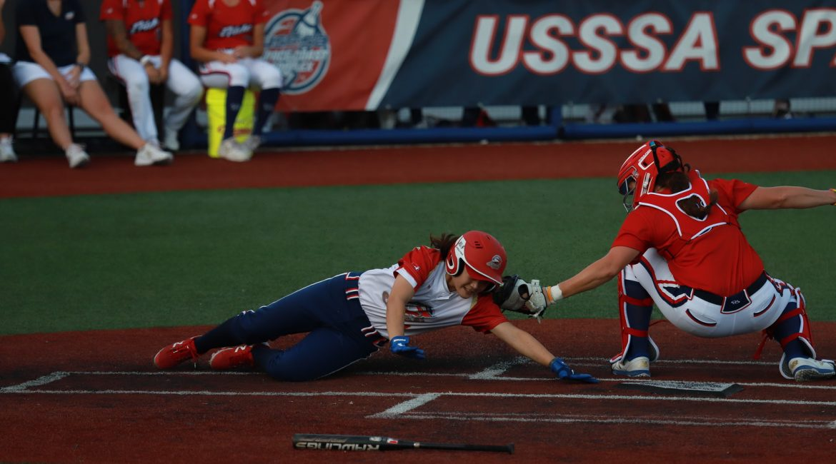 Brittney Cervantes tags out runner at home USSSA Pride wins game